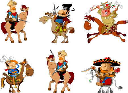 Cowboy on a horse, Mexican on a donkey, sheriff with a gun, vector Illustration