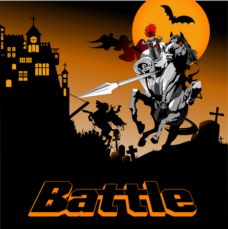 black knight on battle horse fighting with witch, vector Illustration