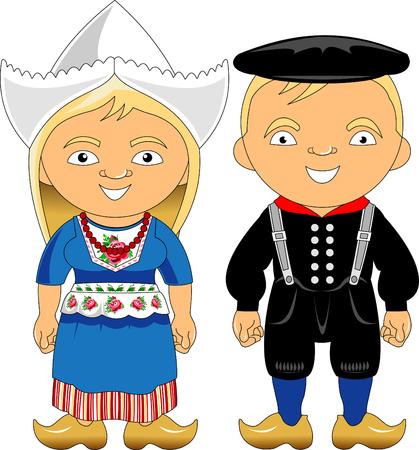 Hombre y mujer en traje típico, ilustración vectorial