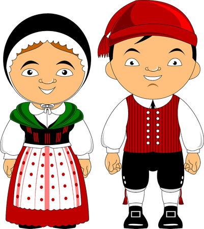 Man and woman in traditional costume, vector illustration Ilustração
