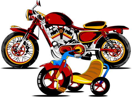 vintage black and white motorcycle vector and illustration Archivio Fotografico - 116220325