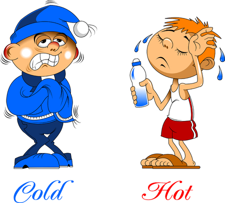Hot and cold boy. Vector clip art illustration with simple gradients