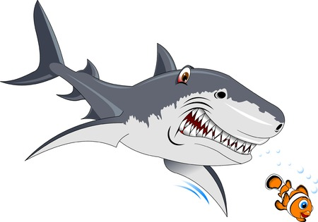 A large gray shark hunts for a small fish, vector Vettoriali
