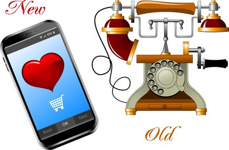 Vintage telephone. Modern cell phone. Vector illustration Illustration