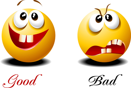 Very kind and very evil face. Funny emoticons. Vector Çizim