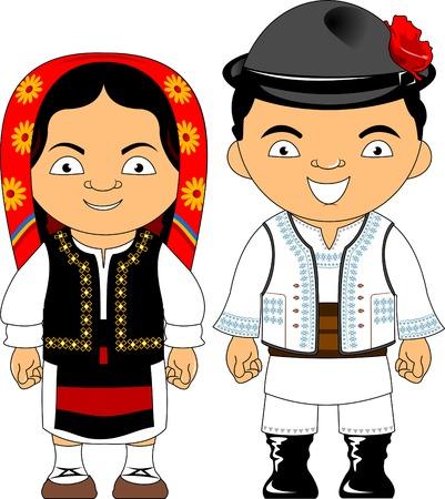 Hombre y mujer en traje tradicional, ilustración plana vectorial