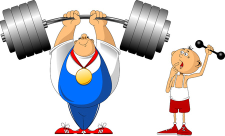 very strong man and very weak boy, vector and illustration