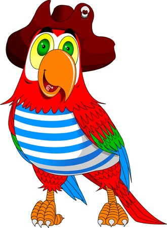 A red parrot cartoon wearing a pirates hat and eye patch and pointing with his or her wing, vector