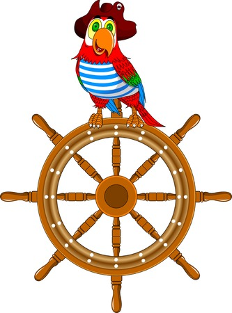 beautiful parrot in a pirate hat sitting on the wheel of the ship, vector