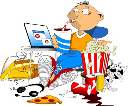Illustration of a Teenage Boy Browsing the Internet on His Tablet in His Messy Room Illustration