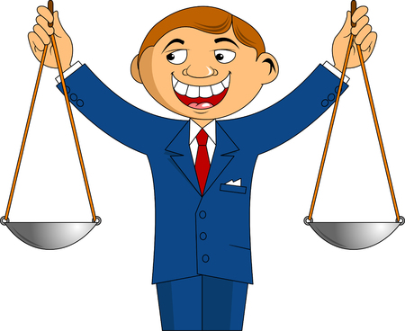 Cheerful and honest businessman holding a scales in his hands, vector Ilustrace