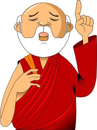 Cartoon buddhist monk meditating Vector clip art illustration with simple gradients Illustration