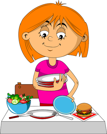 beautiful girl serves a table before the holiday, vector and illustration