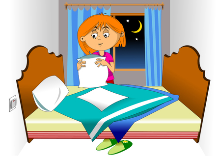 Girl in a pink shirt making bed in bedroom illustration, vector