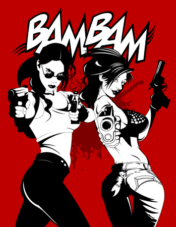 two girls criminals with guns in their hands, vector and illustration