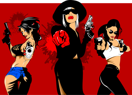 three girls criminals with guns in their hands, vector and illustration