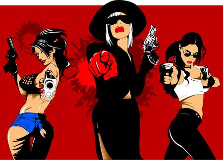 trois filles criminelles avec des armes à la main, vecteur et illustration