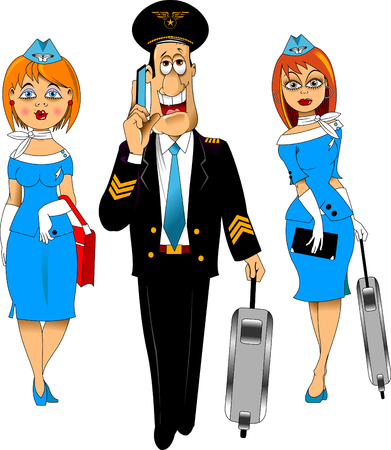 Isometric group of employees of international airlines, flight attendants, pilot, captain of an aircraft Stock Illustratie
