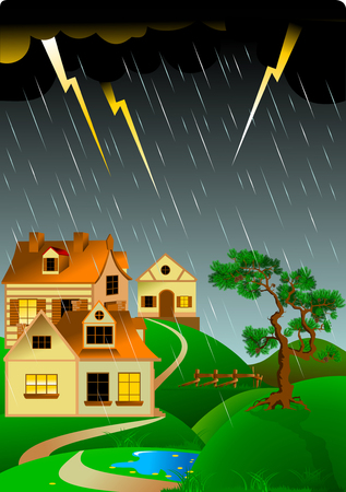 Dangerous Stormy Weather with Thunder Lightings Above the Home