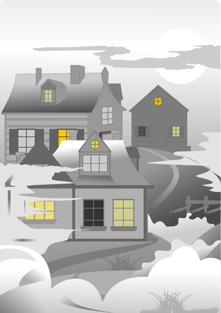 cold foggy morning in a small village, vector and illustration