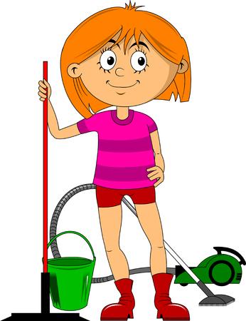 Piękna kobieta czystsze ze szczotką do podłóg. Serwis sprzątający dom Ilustracje wektorowe
