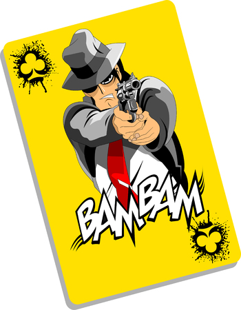 men in black suits with a weapon, vector, illustration Çizim