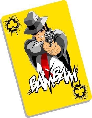 men in black suits with a weapon, vector, illustration Illusztráció