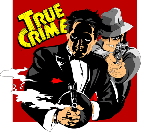 two killers armed with guns and pistols, vector and illustration