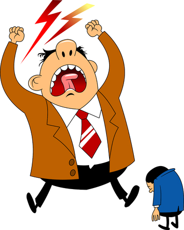 Big boss angry businessman was asleep during work. Cartoon Vector Illustration  イラスト・ベクター素材