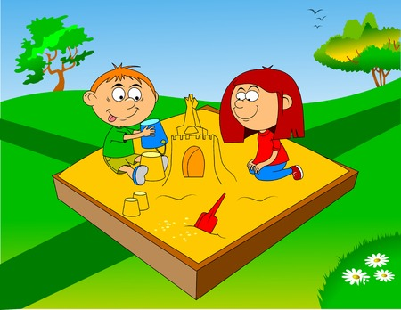 little boy and girl play in sandbox. Vector and illustration  Illustration