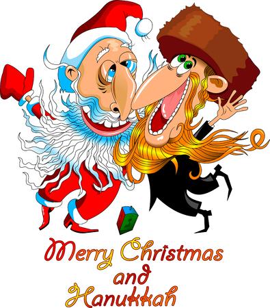 Santa Claus with a religious Jew celebrate the holiday, vector Vektorové ilustrace
