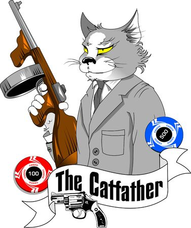 gray cat in a gangster costume and with a gun in his paws