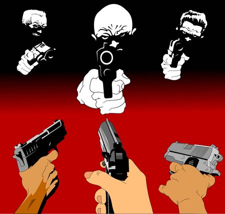 three killers with three pistols on a black background, vector and illustration Ilustração