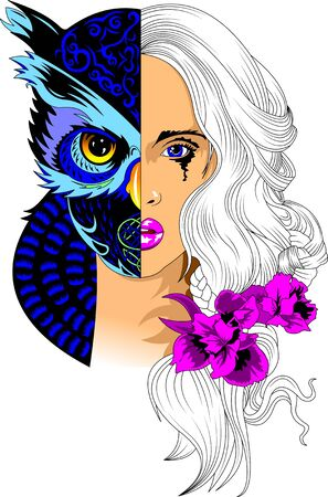 Portrait of a woman in a mask of a black owl with yellow eyes, vector and illustration Ilustração