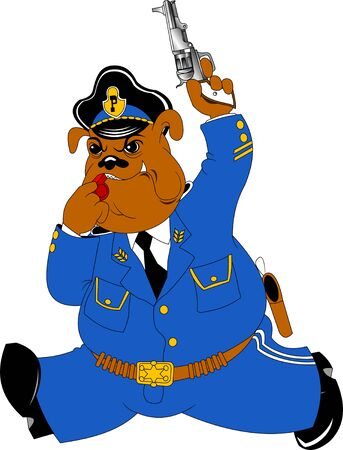 policeman dog in blue uniform with a gun in his paw, vector