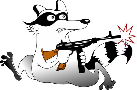 funny raccoon with a thompson machine gun runs away from the police