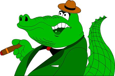 green crocodile in a tuxedo and a hat with a cigar in his paw Illusztráció