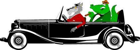 wolf in a red suit and a crocodile in a green tuxedo ride a black car Illusztráció