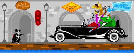 Crocodile, giraffe and wolf ride in a black car on a city street Illusztráció
