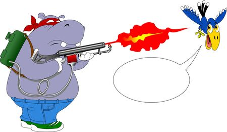gray hippo shoots from a flamethrower at a blue raven