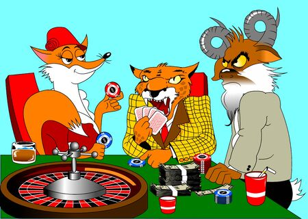 red fox, orange leopard and goat play poker in a casino