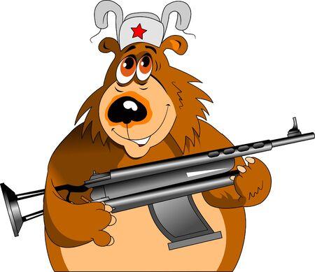 Cheerful bear with a big black machine gun, vector and illustration Illusztráció