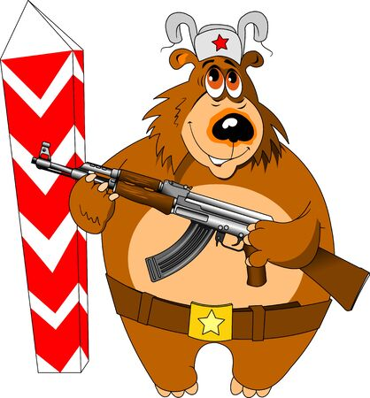 A border guard bear guards the border with weapons in its paws