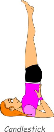 young athlete performs gymnastic exercises, vector and illustration