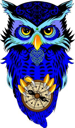 blue owl with black feathers holds in its paws an old compass, vector