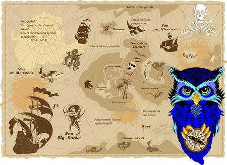 Blue owl on a vintage treasure island map vector Illusztráció