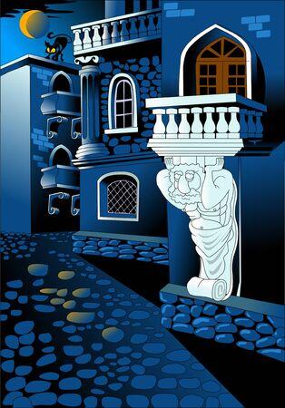 Night street of the old city. The moon illuminates the cobblestone pavement, vector Illusztráció