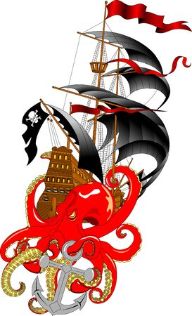 Sailing vessel and Kraken monster octopus   in cartoon style. Squid with tentacle myth, adventure voyage illustration