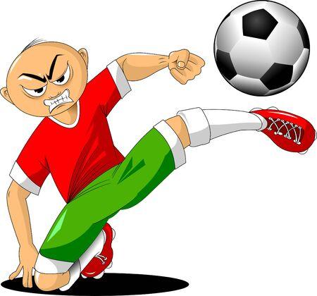 soccer player in a red shirt and green shorts kicks the ball, vector Illusztráció