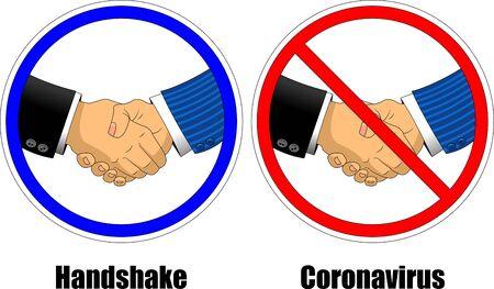 No handshake and hand washing icons in a flat design Illusztráció